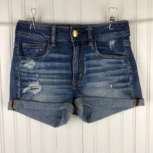American Eagle Hi-Rise Shortie Cutoff Jean Shorts